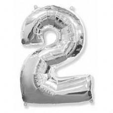 Фольгированный шар (40»/102см) Цифра, 2, Серебро