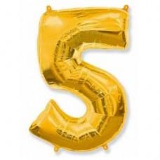 Фольгированный шар (40»/102 см) Цифра, 5, Золото