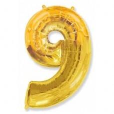 """Фольгированный шар (40""""/102 см) Цифра, 9, Золотого"""