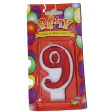 Свеча в торт цифра 9 красная