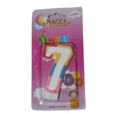 Свеча в торт цифра 7 блёстки