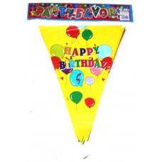 Растяжка Happy Birthday жёлтая
