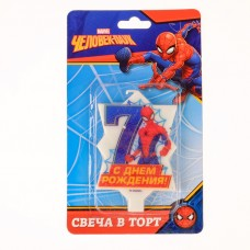 """Свеча в торт 7 """"С Днем Рождения"""", Человек-паук, 5.1 х 7.9 см"""