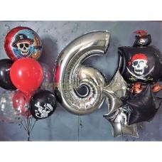 """Сет шаров """"Пиратская вечеринка"""" с цифрой"""