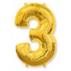 """Фольгированный шар (40""""/102 см) Цифра, 3, Золото"""