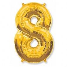 """Фольгированный шар (40""""/102 см) Цифра, 8, Золотого"""
