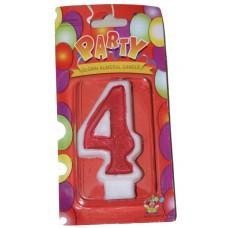 Свеча в торт цифра 4 красная