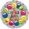 Фольгированный шар 18'' С праздником (разноцветные смайлы)