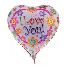 Фольгированный шар Сердце в цветочках