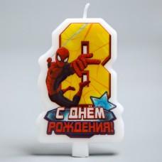 """Свеча в торт """"С днем рождения"""", цифра 8, Человек-Паук"""