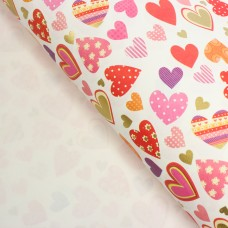 "Бумага упаковочная ""Разноцветные сердца"", 50 х 70 см"
