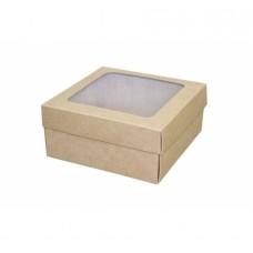 Подарочная коробка 150*150*70 мм, крафт, с окном