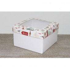 Подарочная коробка 150*150*100мм, с белым дном, с окном, морская